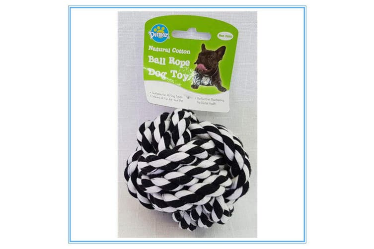 BLACK WHITE COLOURFUL JUMBO NATURAL COTTON ROPE BALL DOG TOY NON-TOXIC PET DENTAL HEALTH