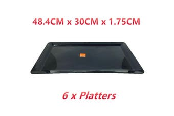 6 x Black Melamine Serving Platter Tray Rectangular 48x30CM Food Drink Coffee Waiter