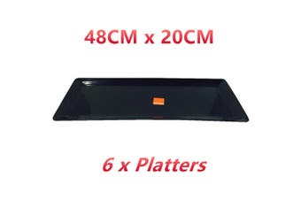 6 x Black Melamine Serving Platter Tray Rectangular 48x20CM Food Drink Coffee Waiter
