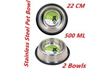 2 x Medium Stainless Steel Food Water Dish Bowls Bowl Pet Feeder Dog Cat Anti-Slip Base