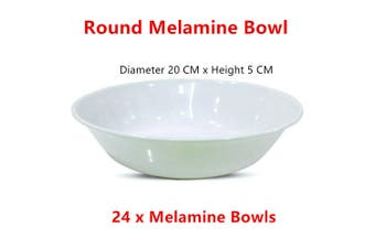 24 x White Melamine Cereal Bowl Large Round Soup Rice Noodle Dinner Snack Salad