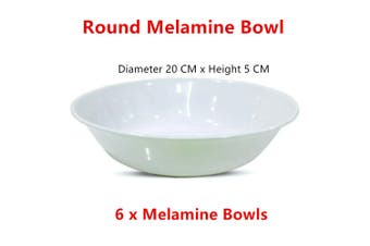 6 x White Melamine Cereal Bowl Large Round Soup Rice Noodle Dinner Snack Salad