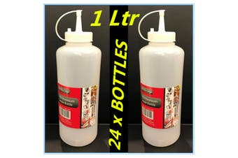 24 x PLASTIC SAUCE BOTTLE WHITE SQUEEZE BOTTLES 1000ML CONDIMENT DISPENSER KITCHEN