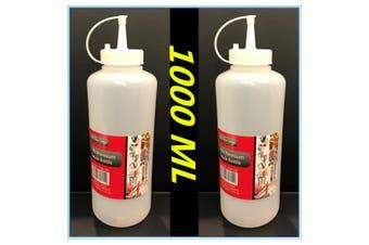 2 x PLASTIC SAUCE BOTTLE WHITE SQUEEZE BOTTLES 1000ML CONDIMENT DISPENSER KITCHEN