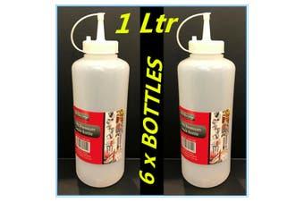 6 x PLASTIC SAUCE BOTTLE WHITE SQUEEZE BOTTLES 1000ML CONDIMENT DISPENSER KITCHEN