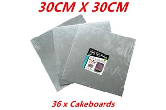 36 x SQUARE FOIL WRAPPED SILVER CAKE BOARDS CAKEBOARD 30CM WEDDING PARTY BIRTHDAY DIY
