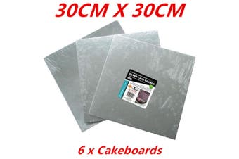 6 x SQUARE FOIL WRAPPED SILVER CAKE BOARDS CAKEBOARD 30CM WEDDING PARTY BIRTHDAY DIY