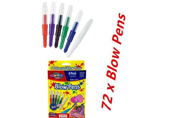 72 x Colour Magic Blow Pens Kids Color Changing Blow Pen Stencils Washable Non Toxic