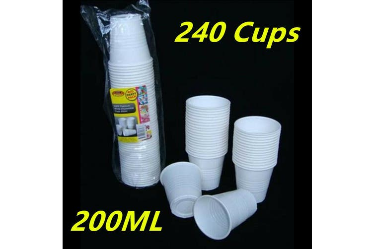 240 X WHITE DISPOSABLE PLASTIC DRINKING CUPS - REUSABLE 200ML- PARTY, RESTARAUNT