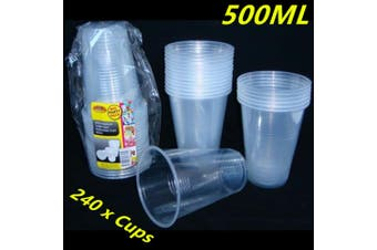 240 X CLEAR DISPOSABLE PLASTIC DRINKING CUPS REUSABLE 500M PARTY RESTAURANT FFD