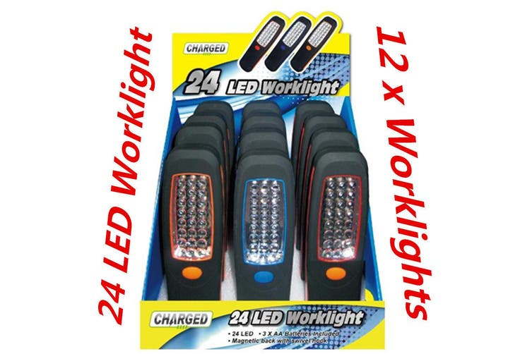 12 x 24 LED Magnetic Hanging Inspection Worklight Torch w Magnet and Swivel Head Hook