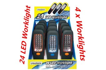 4 x 24 LED Magnetic Hanging Inspection Worklight Torch w Magnet and Swivel Head Hook