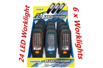 6 x 24 LED Magnetic Hanging Inspection Worklight Torch w Magnet and Swivel Head Hook