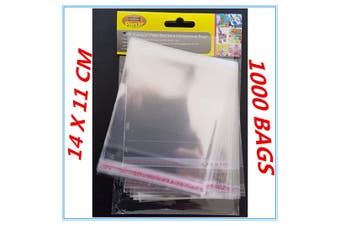 1000 X PEEL AND SEAL CLEAR SHINY CELLOPHANE BAGS PARTY BIRTHDAY GIFT PACKAGE DD