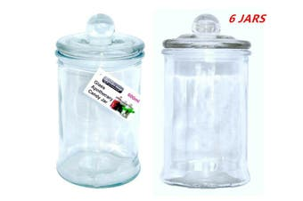 6 x Glass Apothecary Candy Lolly Buffet Jar Candle Making Waxing Wedding Party 660ML