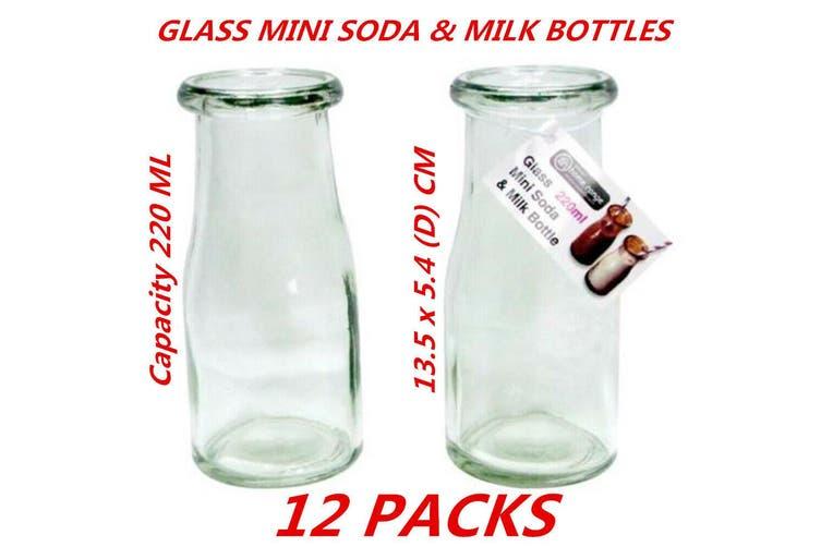 12 x 220ml Mini Small Clear Glass Milk Juice Candy Soda Bottle Reuseable Round Jar