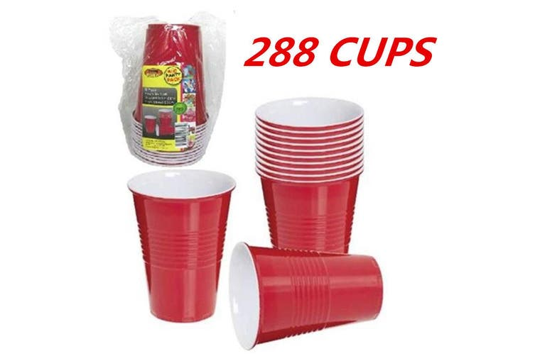 288 x DISPOSABLE 500ML 16OZ PARTY PLASTIC RED USA STYLE JUMBO CUPS CUP BEER DRINK