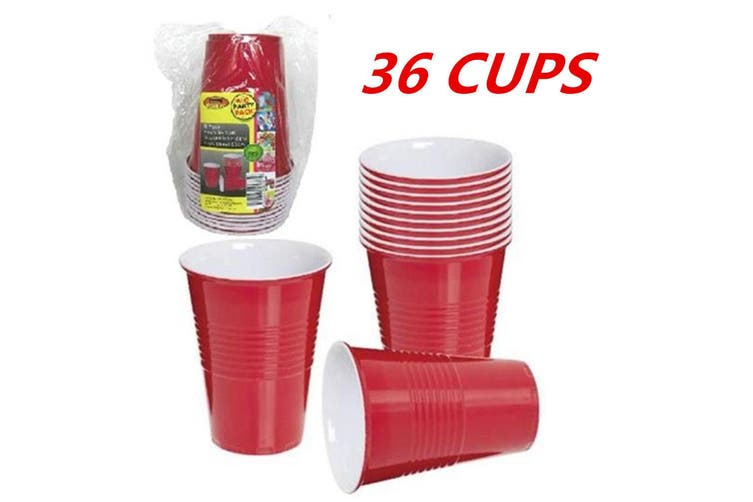36 x DISPOSABLE 500ML 16OZ PARTY PLASTIC RED USA STYLE JUMBO CUPS CUP BEER DRINK