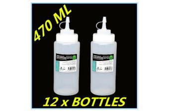 12 x PLASTIC SAUCE BOTTLE WHITE SQUEEZE BOTTLES 470ML CONDIMENT DISPENSER KITCHEN