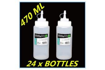24 x PLASTIC SAUCE BOTTLE WHITE SQUEEZE BOTTLES 470ML CONDIMENT DISPENSER KITCHEN