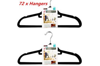 72 x Black Velvet Coat Hangers Clothes Pants Closet Nonslip Space Saving Anti-slip