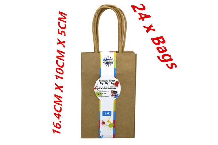 24 X MINI SMALL CRAFT DIY BROWN GIFT BAGS WITH HANDLE - PARTY, GIFT, WRAP FW