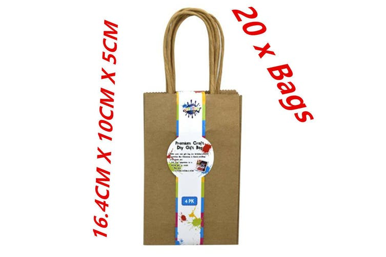 20 X MINI SMALL BAG CRAFT DIY BROWN GIFT BAGS WITH HANDLE PARTY GIFT WRAP DDD