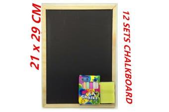12 set Blackboard Chalkboard With Chalk and DusterWooden Frame Board Cafe School