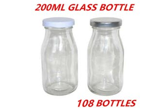 108 x Mini Small Glass Milk Juice Candy Bottle 200ML With Screw Top Silver White Lid W