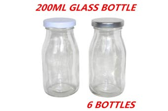 6 x Mini Small Glass Milk Juice Candy Bottle 200ML With Screw Top Silver White Lid W