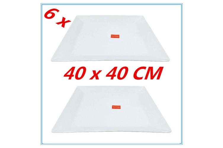 6PK GLOSSY WHITE MELAMINE SERVING TRAY SQUARE PLATTER CATERING TRAYS 40X40CM FD