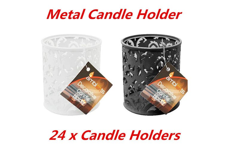 24 x DECORATIVE METAL CANDLE HOLDERS PATTERN BLACK WHITE CANDLE HOLDER WEDDING