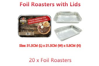 20 Large Aluminium Foil Roaster Tray /w Lid Baking Food Container Fridge Storage
