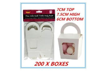200X WHITE PARTY SWEET TREATS FAVORS CANDY LOLLY BOXES DUAL SIDED WINDOW FACED F
