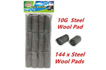 144 x Bulk Steel Wool Pads 12G Kitchen Wire Cleaning Ball Stainless Steel Pan Cleaner