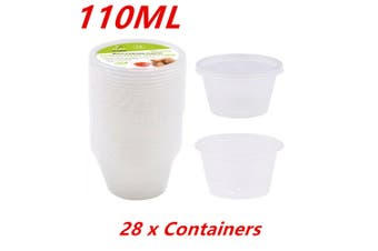 28 x Plastic Dipping Sauce Disposable Small Container Cups Lids Takeaway 110ML WMCCC