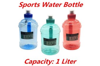 1L LITRE LITER BPA FREE SPORTS WATER BOTTLE with HANDLE RED GYM BIKE TRAINING DRINK DU