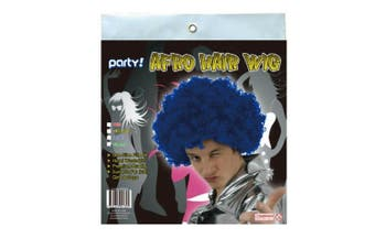 Blue Afro Curly Wig Costume Cosplay World Cup Party Fancy Dress Disco 70s 80s Hippie
