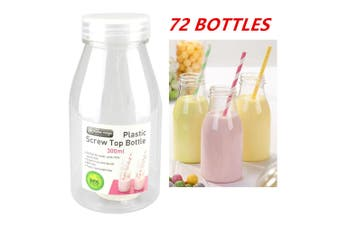 72 x 300ML PLASTIC MILK BOTTLE CANDY JAR CONTAINER WHITE LID PARTY LOLLY BUFFET JUICE