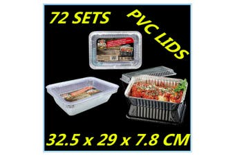 72 x Foil Roasting Silver Trays For BBQ Baking Oven Party w/h PVC Lids 29cm D