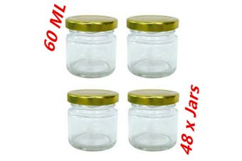 48 x 60ml Mini Glass Jars Gold Lid Party Wedding Favours Candy Lolly Jam Jars d
