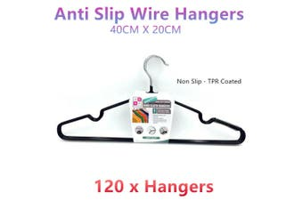 120 x Non Slip Wire Hangers 40cm Flocked Metal TPR Clothes Laundry Storage Anti