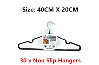 30x NonSlip TPR Coated Wire Clothes Hanger Cloth Organizer Holder Rubber Laundry