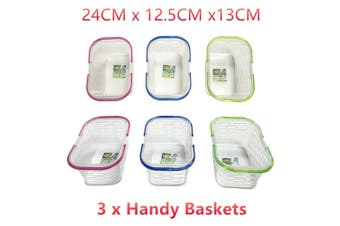 3 x Plastic Handy Basket w Handles Clear Aerated Storage Carry Laundry Organiser