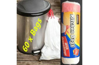 60 X 35 Litre Kitchen Tidy Rubbish Bin Garbage Plastic Bags Bag Liner Drawstring