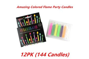 12pk COLORED CAKE CANDLES COLOR FLAME AND HOLDERS BIRTHDAY PARTY 5.5CM BOYS N GIRLS