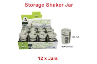 12 x Mini Stainless Steel Glass Storage Jar With Shaker Herb Spice Pepper Salt Cook