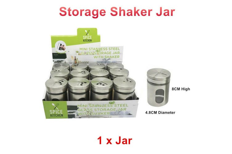 1 x Mini Stainless Steel Glass Storage Jar With Shaker Herb Spice Pepper Salt Cook