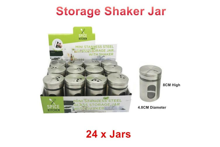 24 x Mini Stainless Steel Glass Storage Jar With Shaker Herb Spice Pepper Salt Cook