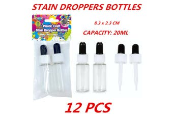 12 x Squeezable Plastic Liquid Dropper Reagent Eye Pipette Essential Oils Bottle 20ml
